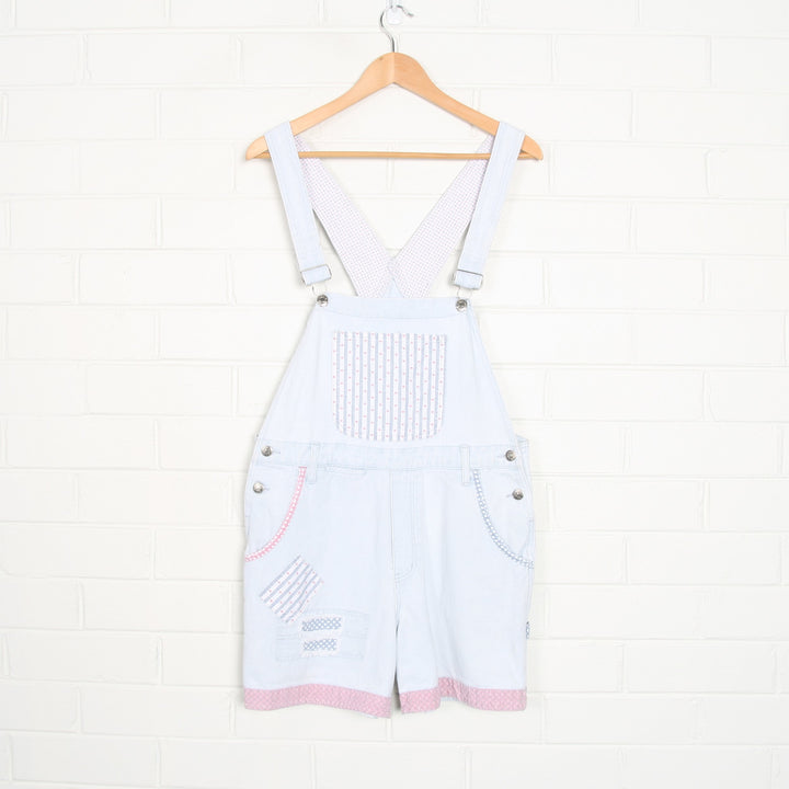 Light Wash 90s Patchwork Heart Embroidered Short Denim Overalls