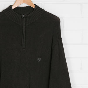 CHAPS Chocolate Brown 1/4 Zip Knit Jumper