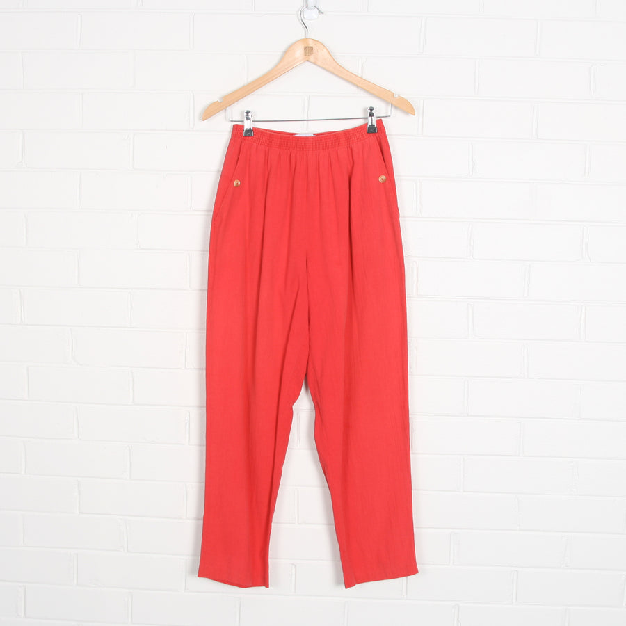 Coral Elastic Waist Tapered Pants