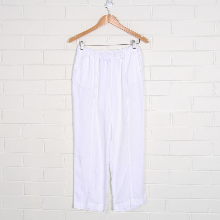White Linen Elastic Waist Tapered Pants