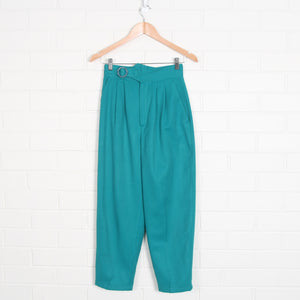 Teal 80s High Waist Pure Wool Pleated Pants