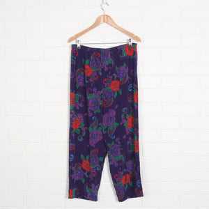 80s Floral Purple Light Weight Elastic Waist Pants