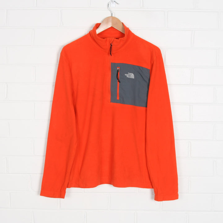 Orange NORTH FACE Embroidered 1/4 Zip Fleece Jumper
