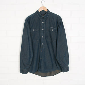 Navy HARLEY DAVIDSON Embroidered Denim Shirt