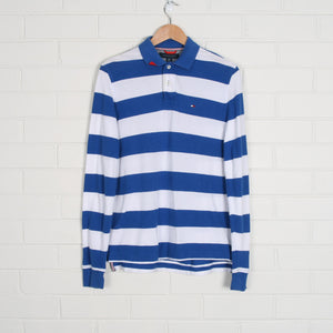 Blue and White TOMMY HILFIGER Long Sleeve Polo Shirt