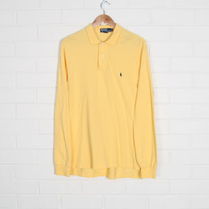 Yellow RALPH LAUREN Embroidered Long Sleeve Polo Shirt