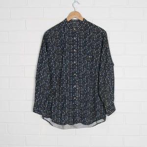 Navy Square Print Mandarin Collar Shirt