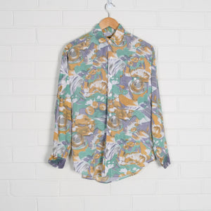 Pastel 80s Print Floral Long Sleeve Shirt
