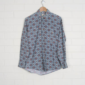 Blue Geometric Print 90s Long Sleeve Shirt
