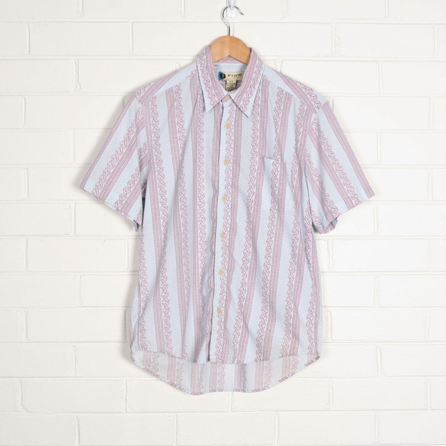 Pastel Blue Paisley Stripe Short Sleeve Retro Shirt