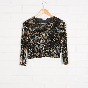 Sheer Animal Print Velvet Crop Top