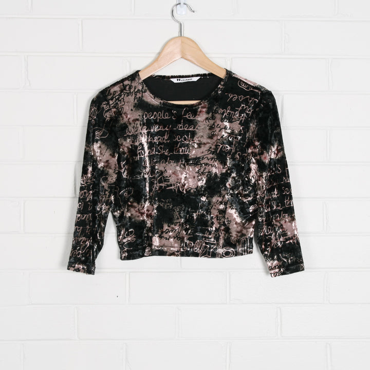 Velvet y2k Print Long Sleeve Crop Top