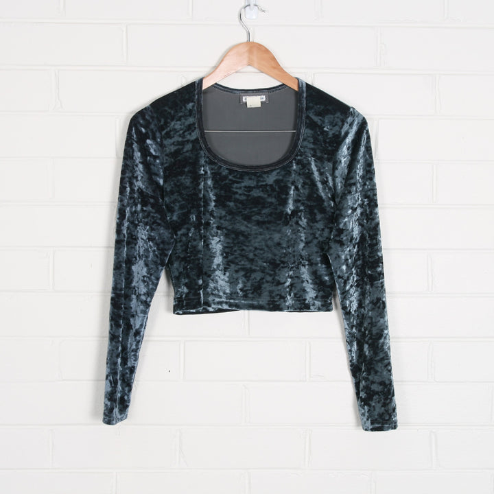 Velvet Long Sleeve Crop Top USA Made