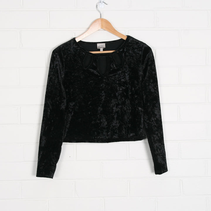 Cut Out Velvet Black Long Sleeve Crop Top