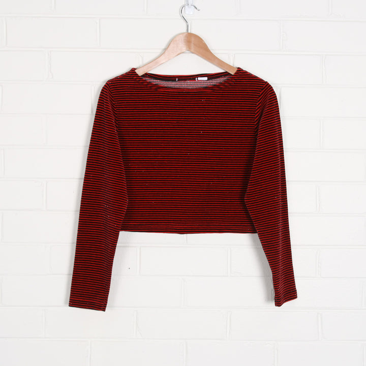 Velvet Stripe Long Sleeve Crop with Sparkle