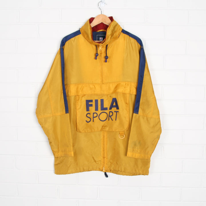 FILA Front Pocket Yellow Lined Nylon Popover