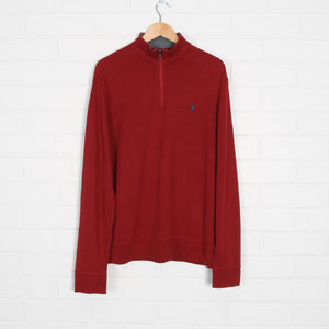 RALPH LAUREN Red 1/4 Zip Sweatshirt