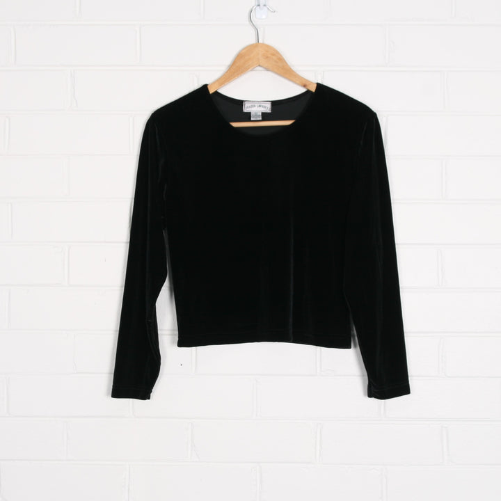 Black Velvet Scoop Neck Long Sleeve Top