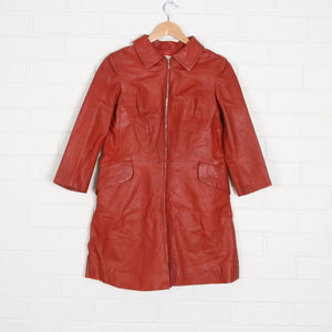 1960s Red Leather Knee Length Zip Through Jacket - Vintage Sole Melbourne