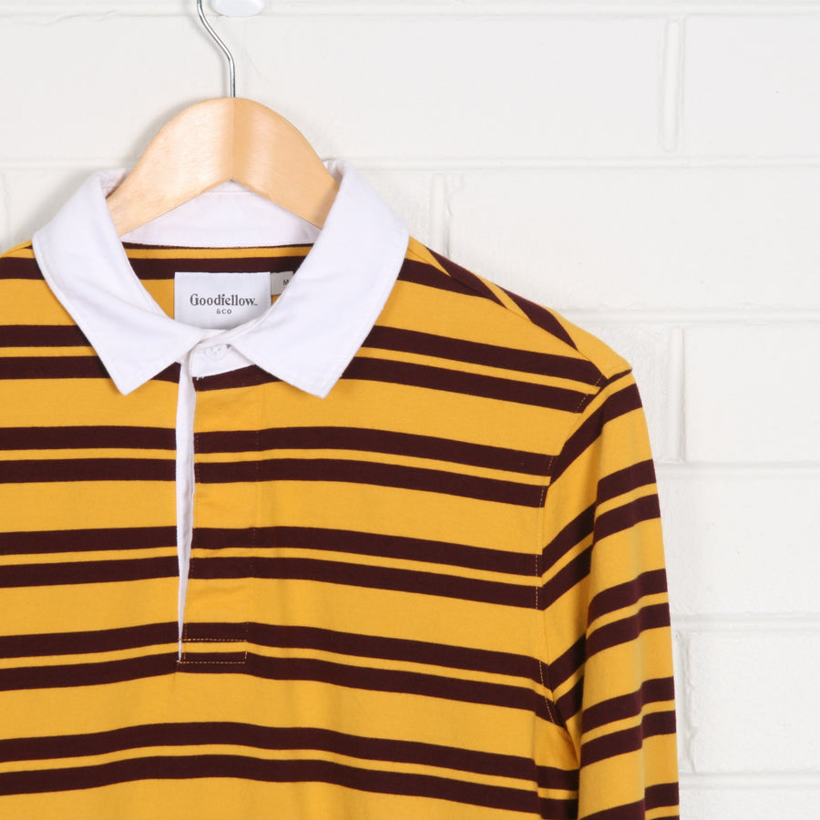 Crop Yellow Maroon Stripe Rugby Polo Shirt