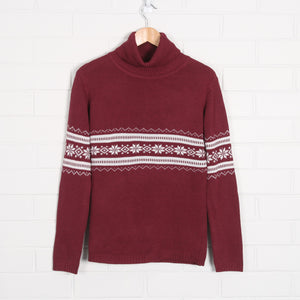 Snowflake Pattern Turtleneck Knit Jumper