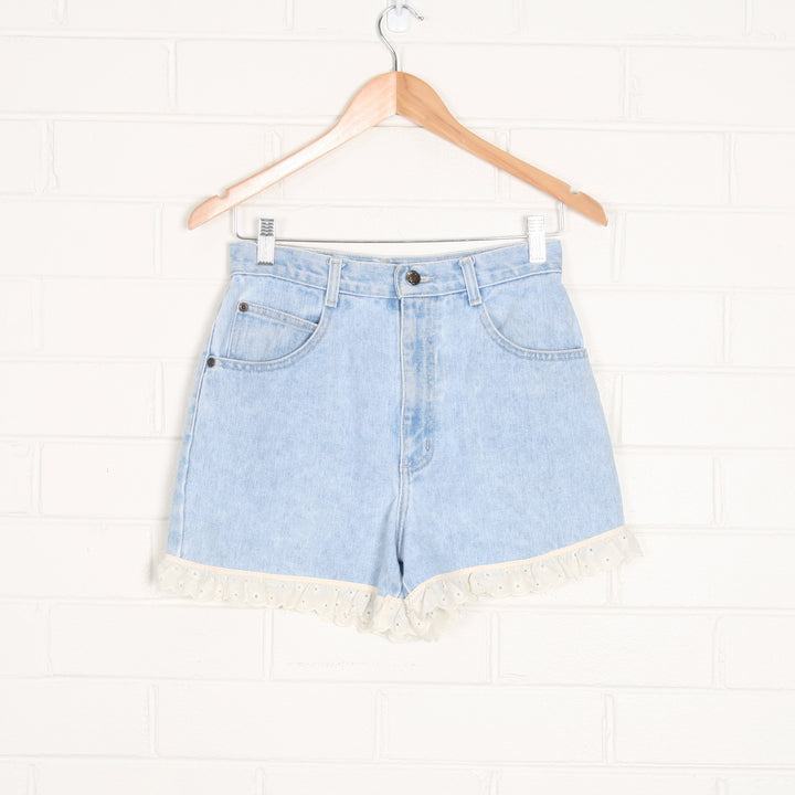 90s Blue Denim High Waist Shorts with Lace Trim