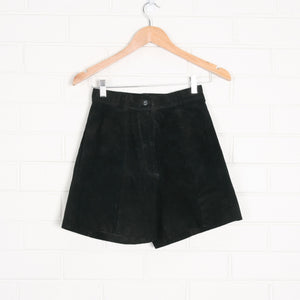 Black 80s Suede High Waist Leather Shorts