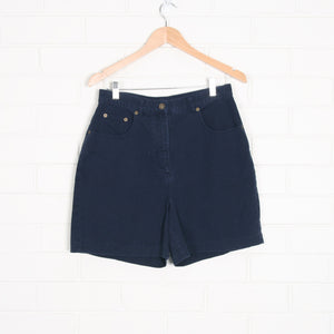 Navy Blue Dungaree Style High Waist Shorts