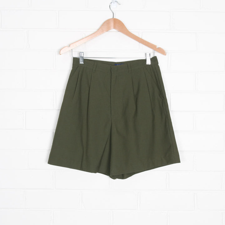 Olive Green High Waist Pleated Cotton Bermuda Shorts