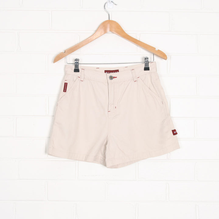 Ecru NEVADA Dungaree Style Cotton Shorts