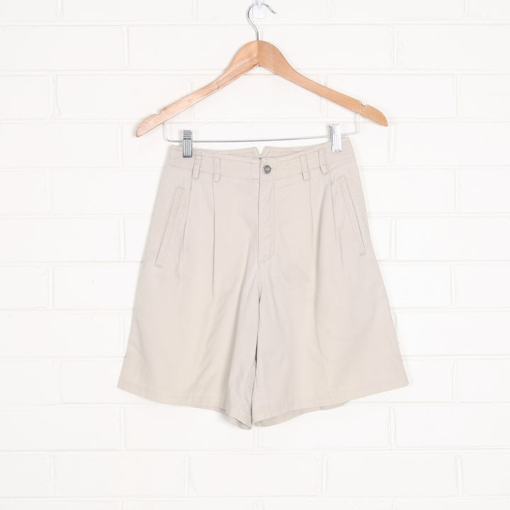 Beige High Waist Pleated 90s Cotton Shorts