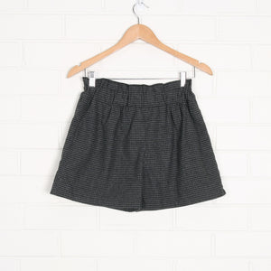 Grey and Black Houndstooth Elastic Waist Wool Lined Shorts