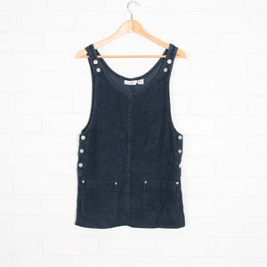 Navy 90s Short Thick Cord Pinafore Dress
