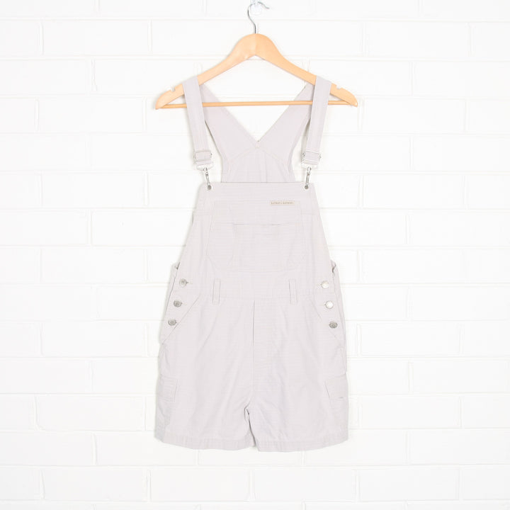 Beige London Jeans Check Detail Short Cotton Overalls