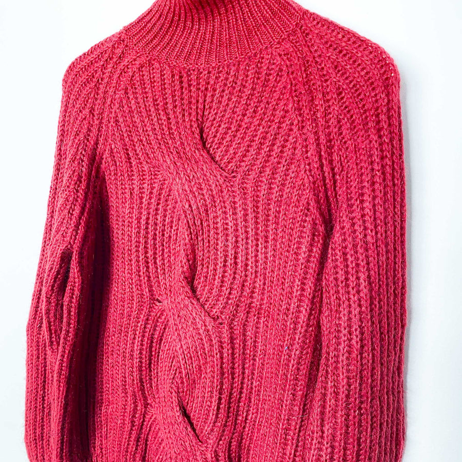 Maroon Made in Italy Turtleneck Sweater Knit Jumper - Vintage Sole