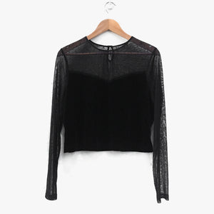 Sheer Mesh Velvet Black Long Sleeve Crop Top