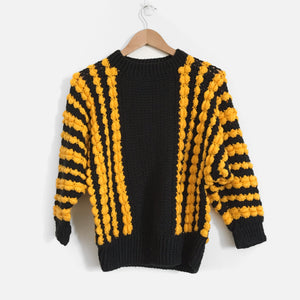80s Vintage Yellow Black Knit Jumper - Vintage Sole