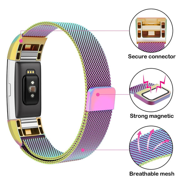 Magnetic Milanese Loop Stainless Steel Wrist Strap For Fitbit Charge 2