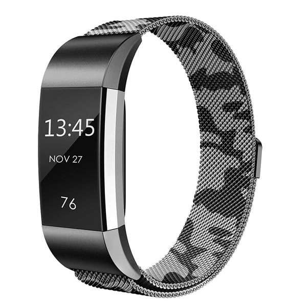 Fitbit Charge 2 Milanese Bands Metal-Connection Laser Engraving-CAMOUFLAGE