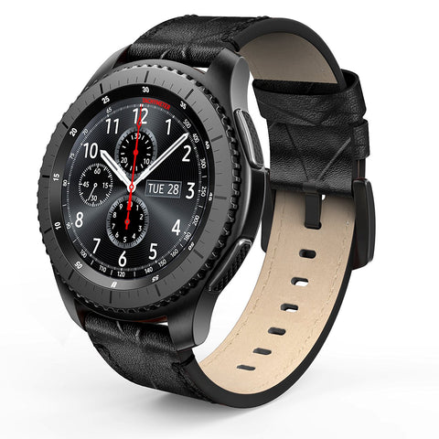 Perfect fit for Samsung Gear S3 Classic / Frontier Smart Watch. Fits wrist size of 5.9 - 8.3 inch (149mm - 210mm), multiple alternative holes for adjustable length. Genuine leather Samsung Gear S3 band, the strap is made of premium leather to provide a comfortable, anti-slip & sweat-absorbent fit. The band comes with Quick Release Pins on both ends, it is easy to clip on and remove by hand without tool