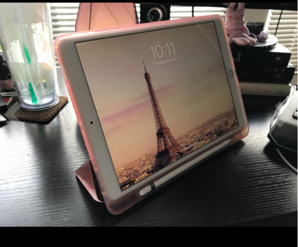 The ipad 10.5 case is a tad heavy at about 6 ounces but feels sturdy and protects both the front and back of the