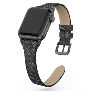SWEES Shiny Bling Glitter Matte Slim Thin Elegant Genuine Leather Strap Compatible iWatch Apple Watch 38mm 40mm Series 5/4 /3/2 /1 Sport Edition Women