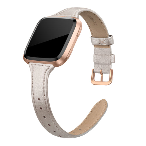 SWEES Leather Bands Compatible with Fitbit Versa 2 / Fitbit Versa Lite & SE/Fitbit Versa, Slim Thin Genuine Leather Replacement Strap for Versa Women (5.5