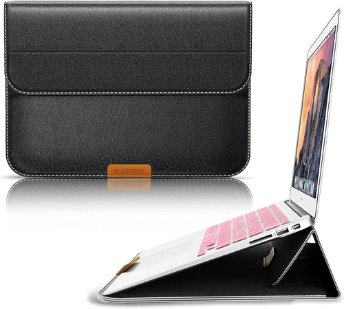 SWEES for MacBook 12 Inch Case Sleeve with Stand Function, 12 Inch Apple New MacBook Ultrabook Wallet Sleeve PU Leather Cover Case Laptop Carrying Bag with Rear Pocket Design