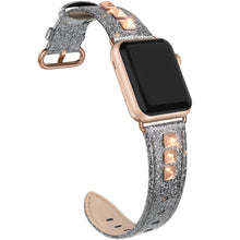 SWEES Genuine Leather Band Compatible for Apple Watch 38mm 40mm, Dressy Designer Bling Rivets Studs Bands Strap Compatible for iWatch Series 5, 4, 3, 2, 1, Sports & Edition Women, Black