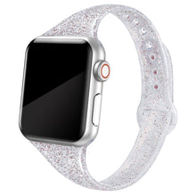 SWEES Shiny Bling Glitter Soft Slim Thin Narrow Small Replacement Sport Silicone Strap Compatible for Apple Watch 38mm 40mm 42mm 44mm Series 5/4/3/2/1 Sport Edition Women, Glistening Silver