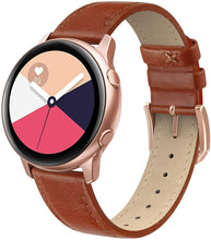 SWEES Genuine Leather Band Compatible Samsung Galaxy Watch Active 40mm Band, 20mm Replacement Bands with Quick Release Pins for Galaxy Watch Active 2 Smart Watch 2019 Women Men