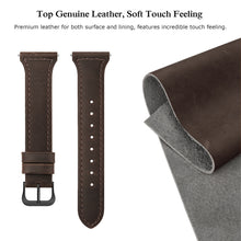 SWEES Leather Bands Compatible Fitbit Versa, Genuine Leather Slim Thin Dressy Strap Replacement Wristband Women Small, Retro Brown