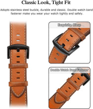 SWEES Leather Band Compatible for Apple Watch 42mm 44mm, Genuine Leather Replacement Strap Compatible with iWatch Series 5 4 3 2 1, Sports & Edition Men