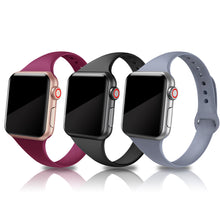 SWEES 3 Packs Narrow Soft Slim Small Sport Silicone Replacement Wristband for Apple Watch 38mm 40mm Series 5, Series 4, Series 3, Series 2 Series 1 Sport Edition Women Men